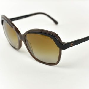 CHANEL Brown/Black CC Logo Polarized Sunglasses cq